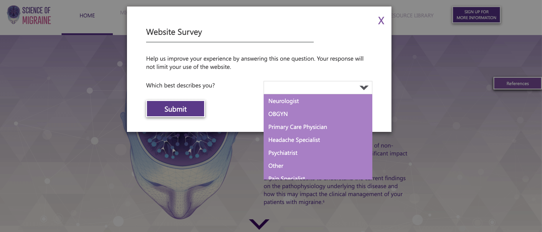 Unbranded pharma website survey example